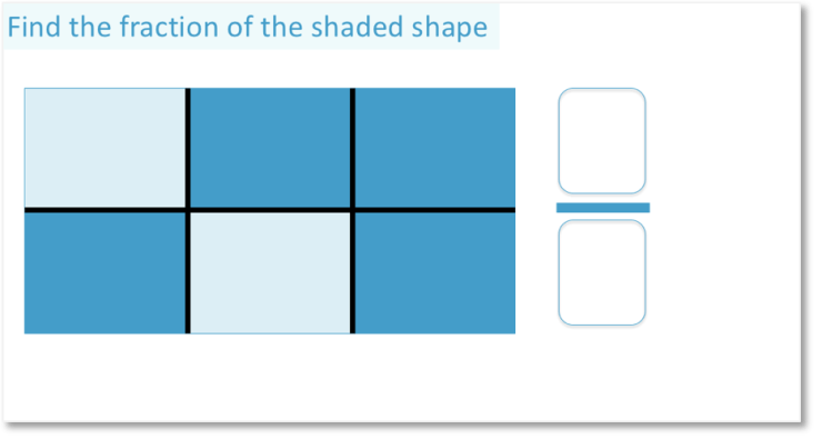 example of finding what fraction is coloured for the fraction four sixths