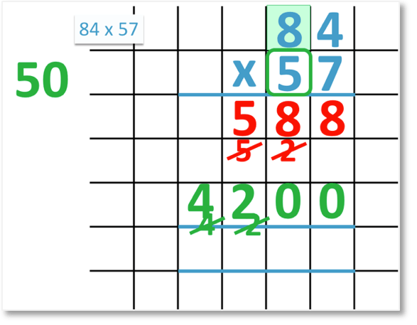 84 x 57 multiplying by the tens and 50 x 80 = 4000