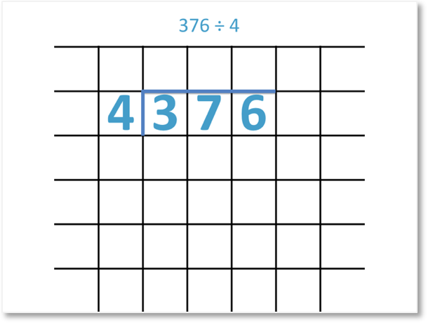 long division by one digit example of 376 divided by 4