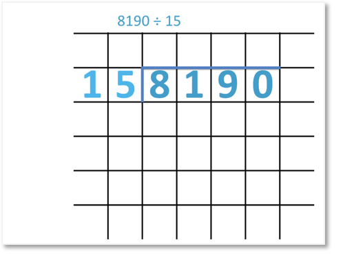 8190 divided by 15 set out with the long division method