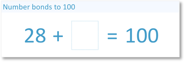 number bonds to 100 what do we pair with 28 to add to 100?