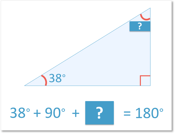 Working out the missing angle in a right angled triangle with the other angle being 38 degrees