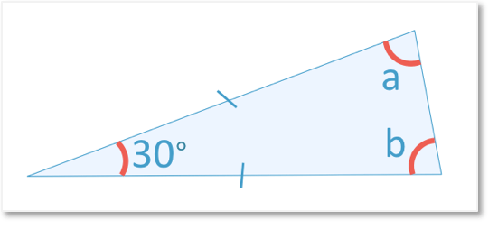An isosceles triangle on its side with top angle being 30 degrees