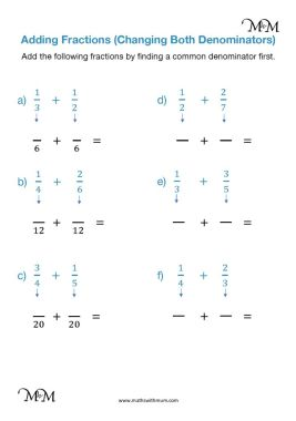 adding fractions with unlike denominators changing both fractions worksheet pdf