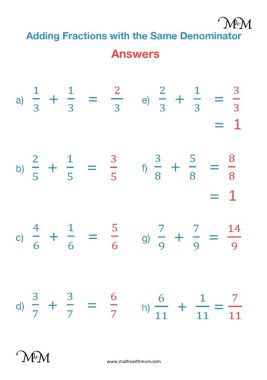 adding fractions with the same denominator worksheet answers pdf