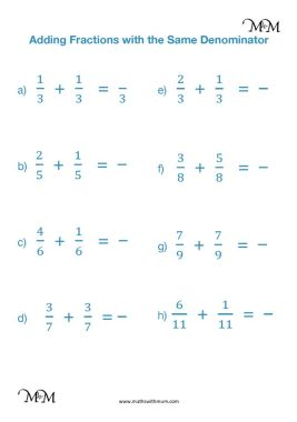 adding fractions with the same denominator worksheet pdf