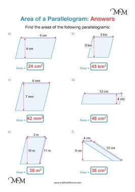 area of a parallelogram worksheet answers pdf