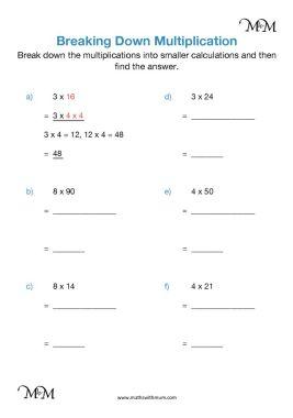 multiplication using factors worksheet pdf