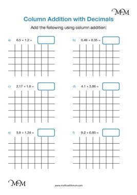 column addition of decimals worksheet pdf