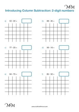 vertical column subtraction without regrouping worksheet pdf