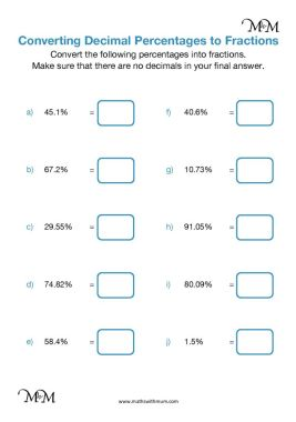 converting percents with a decimal to fractions worksheet pdf