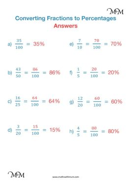 convert fractions to percent worksheet answers pdf