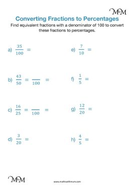 fractions to percent worksheet pdf