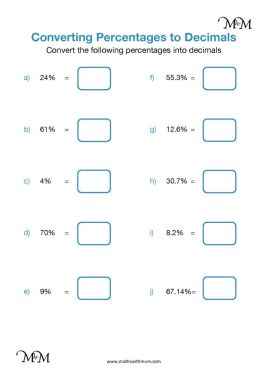 percentage to decimal worksheet pdf