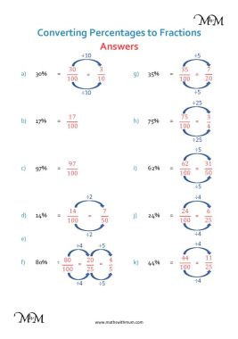 converting percents to fractions worksheet answers pdf