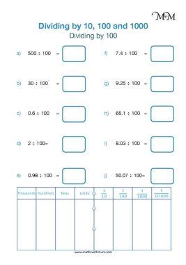 dividing by 100 worksheet pdf