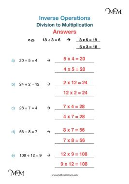 inverse operations division to multiplication worksheet answers pdf