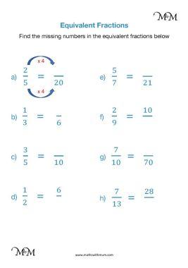 finding a missing numerator or denominator worksheet pdf