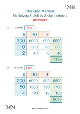 Grid Method Multiplying Threedigit And Twodigit Numbers  Maths  Grid Method Worksheets And Answers
