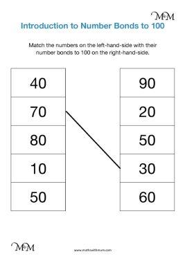 number bonds to 100 multiples of 10 worksheet pdf