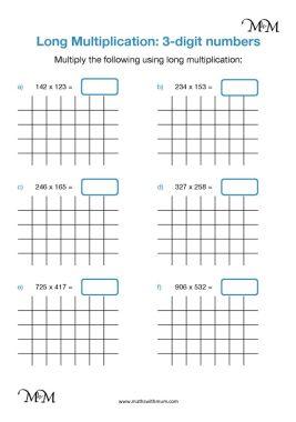 long multiplication of 3 digit numbers worksheet pdf