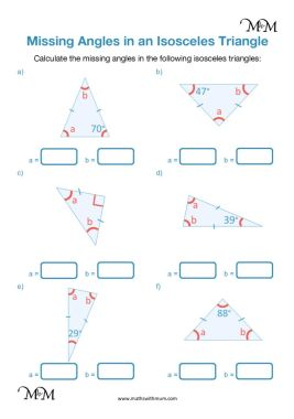 angles in an isosceles triangle worksheet pdf