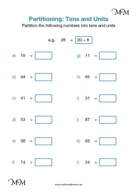 partitioning numbers into tens and units worksheet pdf