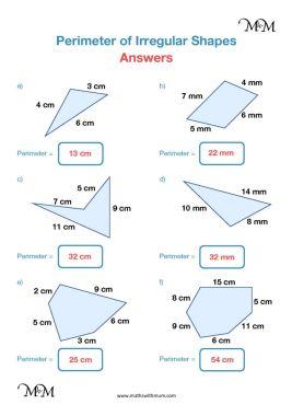 finding the perimeter of an irregular shape pdf worksheet answers