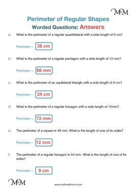 Regular Shape Perimeter Worded Problems and answers