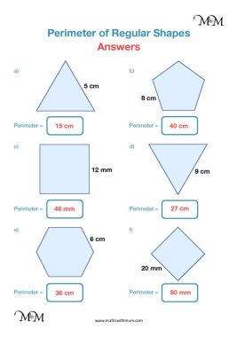 perimeter of regular shapes worksheet and answers