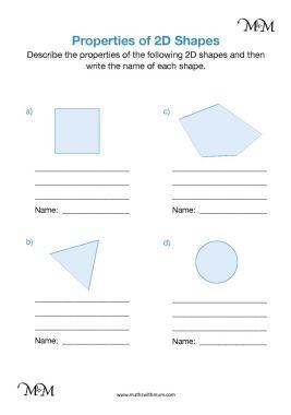 naming 2d shapes worksheet
