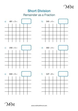 division with remainders as fractions worksheet pdf