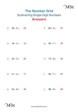subtracting single digit numbers pdf worksheet answers