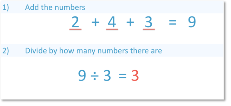 finding the mean of 2, 4 and 3