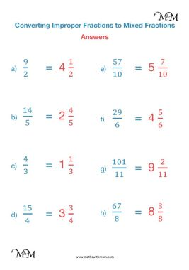 converting improper fractions to mixed numbers worksheet answers pdf