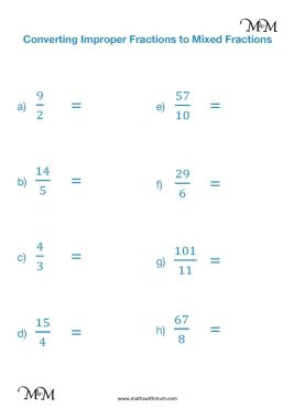converting improper fractions to mixed numbers worksheet pdf