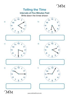 5 minute intervals past the hour on a clock worksheet pdf