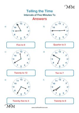 5 minute intervals to the hour worksheet answers pdf