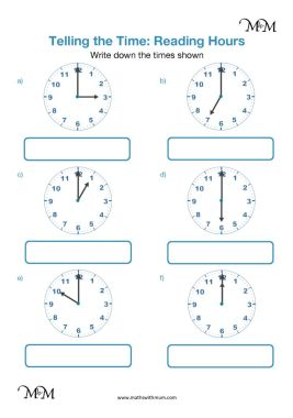 telling the time in hours worksheet pdf