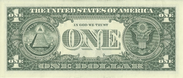an american one dollar bill banknote