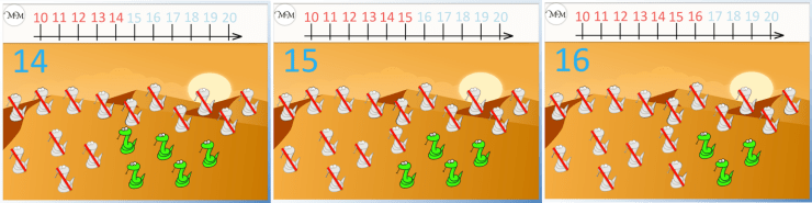 counting to twenty on a number line