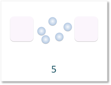 sharing five counters into two equal parts