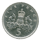 a five pence british coin