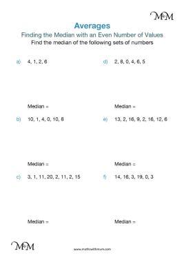 median of an even set of numbers worksheet PDF