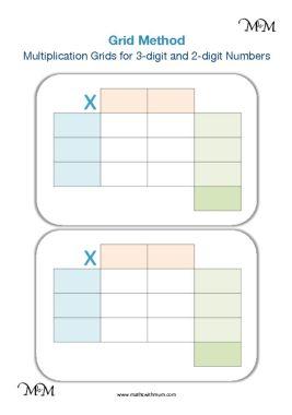 printable blank grid method grids for 2 and 3 digit numbers pdf