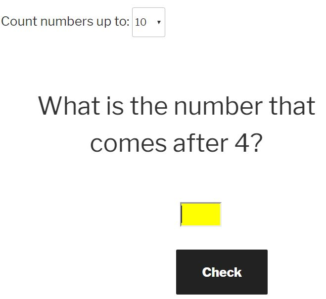 learn the order of numbers to 10 question generator