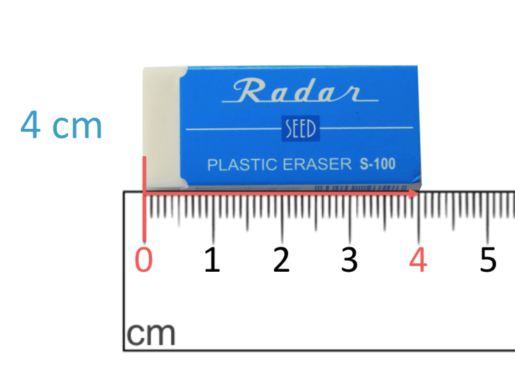 measuring an eraser that has the length of 4 cm using a centimetre ruler