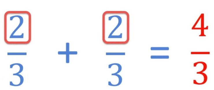adding improper fractions with a common denominator by keeping the common denominator and adding the numerators