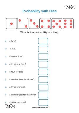 dice probability worksheet pdf