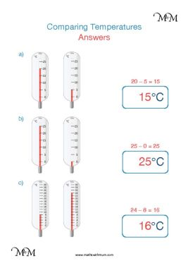 comparing temperature on a thermometer worksheet answers pdf